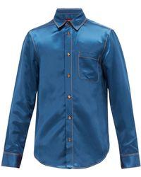 Sies Marjan Sander Topstitched Satin-twill Shirt - Blue