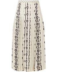 La Prestic Ouiston Gabrielle Good Luck-print Pleated Silk Skirt - White