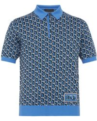 1719de1af Prada - Graphic Print Polo Shirt - Lyst