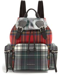 Burberry | Medium Laminated-tartan Backpack | Lyst