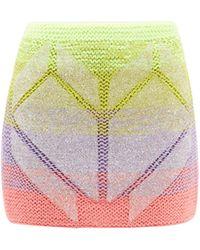 Germanier Beaded Gradient-stripe Knit Skirt - Multicolour