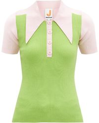 JoosTricot Paneled Cotton-blend Peachskin Polo Shirt - Green