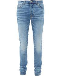 Amiri Stack Distressed Skinny-leg Jeans - Blue
