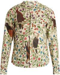 Gucci Birds-print Single-cuff Cotton Shirt - Multicolour
