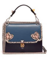 Fendi Kan I Heart Detail Leather Shoulder Bag - Multicolour