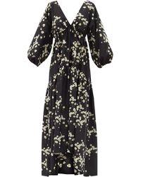 BERNADETTE ミリセント フローラル タフタドレス - ブラック