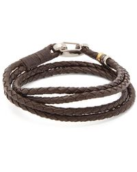 Paul Smith Beaded Woven-leather Bracelet - Brown