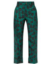 LaDoubleJ Hendrix Satin-jacquard Trousers - Green