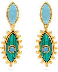 Sylvia Toledano - Calcedonie & Malachite Drop Earrings - Lyst
