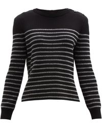 Saint Laurent Metallic Stripe Cotton Blend Jumper - Black
