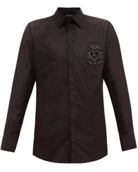 Dolce & Gabbana Embellished Crest-logo Cotton Shirt - Black