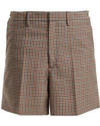 Maison Margiela - Wide-leg Checked Wool-blend Shorts - Lyst