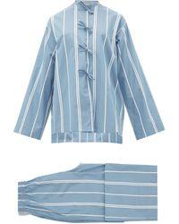 Jil Sander Monogram-embroidered Striped Cotton Pajamas - Blue