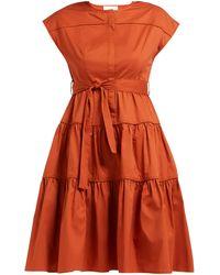 LOVE Binetti Simple Minds Tie-waist Tiered Cotton Dress - Orange