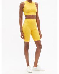Fendi Ff Fisheye Jacquard-jersey Shorts - Yellow