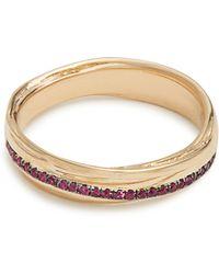 Alison Lou - Ruby & Yellow Gold Fettucine Ring - Lyst