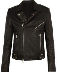 Balmain - Coin Embossed Leather Biker Jacket - Lyst
