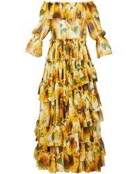 Dolce & Gabbana Sunflower-print Ruffle-tiered Silk-chiffon Gown - Yellow
