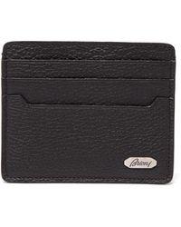 Brioni Grained-leather Cardholder - Black