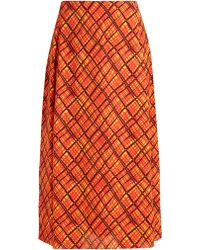 Marni - Checked Crepe Midi Skirt - Lyst
