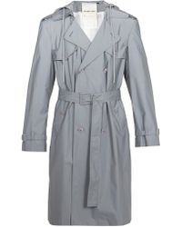 Helmut Lang   Reflective Double-breasted Hooded Trench Coat   Lyst