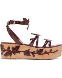 Prada Floral-appliqué Flatform Leather Sandals - Multicolour