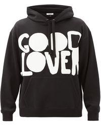 Valentino Garavani Good Lover-print Cotton-blend Hooded Sweatshirt - Black