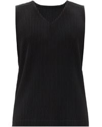 Homme Plissé Issey Miyake Technical-pleated Jersey Tank Top - Black