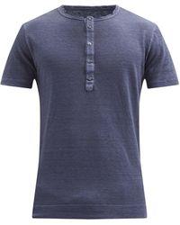 120% Lino 120% Lino ロールエッジ リネンヘンリーシャツ - ブルー