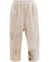 By Walid Alain Cropped Patchwork Vintage-cotton Trousers - Natural