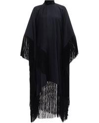 Taller Marmo ミセス ロス フリンジ クレープカフタンドレス - ブラック