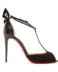 Christian Louboutin - Aribak 100mm Leather And Suede Sandals - Lyst