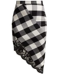 Altuzarra Vichy Lace Trimmed Checked Wool Blend Skirt - Black