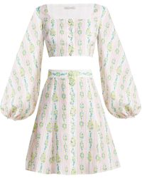 Emilia Wickstead - Ines Floral Print Linen Crop Top And Skirt - Lyst