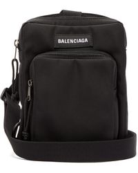 Balenciaga Logo-patch Canvas Cross-body Bag - Black
