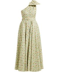Alessandra Rich Belted Pineapple-print Cotton-blend Gown - Green