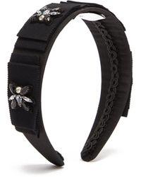 Erdem Bead-embellished Silk Headband - Black