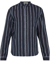 Denis Colomb Raj Mandarin-collar Striped Linen Shirt - Blue