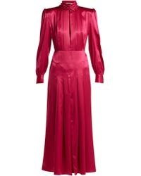 Alessandra Rich Pleated Panelled Silk Satin Dress - Red