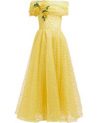 Rodarte Floral-appliqué Polka-dot Tulle Gown - Yellow