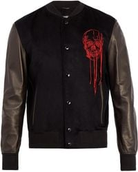 Alexander McQueen | Skull-embroidered Leather-sleeved Bomber Jacket | Lyst
