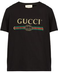 6d97a290f75 Gucci - Fake Logo Print Cotton T Shirt - Lyst