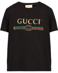 Gucci - T-shirt en coton à imprimé logo Fake - Lyst