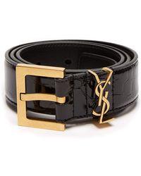 Saint Laurent - Monogram Crocodile Effect Patent Leather Belt - Lyst