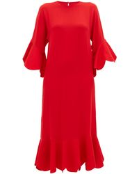 Valentino Ruffled Crepe Gown - Red