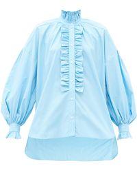 MSGM オーバーサイズ ラッフル コットンポプリンシャツ - ブルー