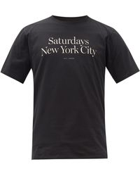 Saturdays NYC ミラー ロゴ コットンtシャツ - ブラック