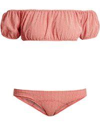 Lisa Marie Fernandez Bikini en crépon vichy Leandra - Rouge