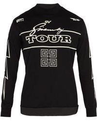 Givenchy T-shirt manches longues en coton à imprimé Tour - Noir