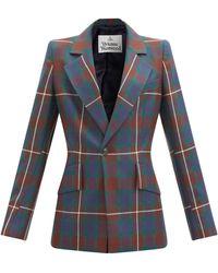 Vivienne Westwood ロウ ロウ タータンチェック ウールジャケット - ブルー